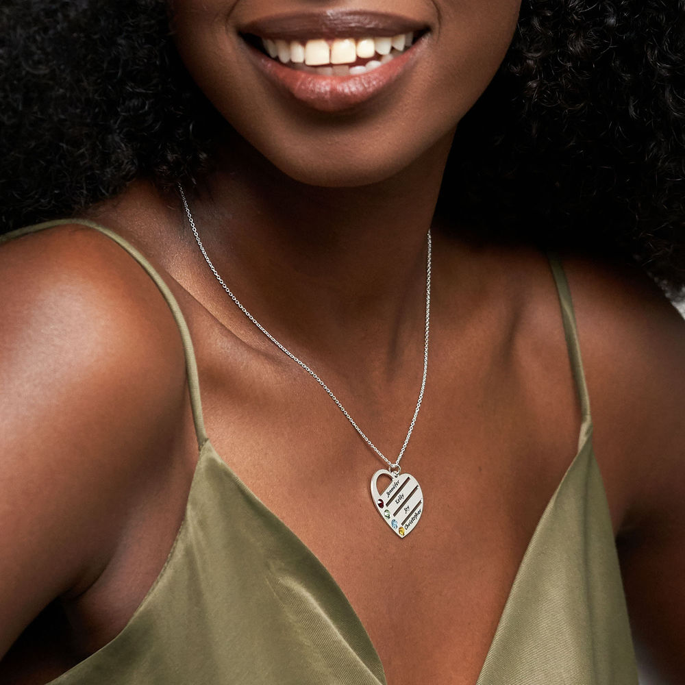 Engraved Names Birthstone Heart Necklace - 2
