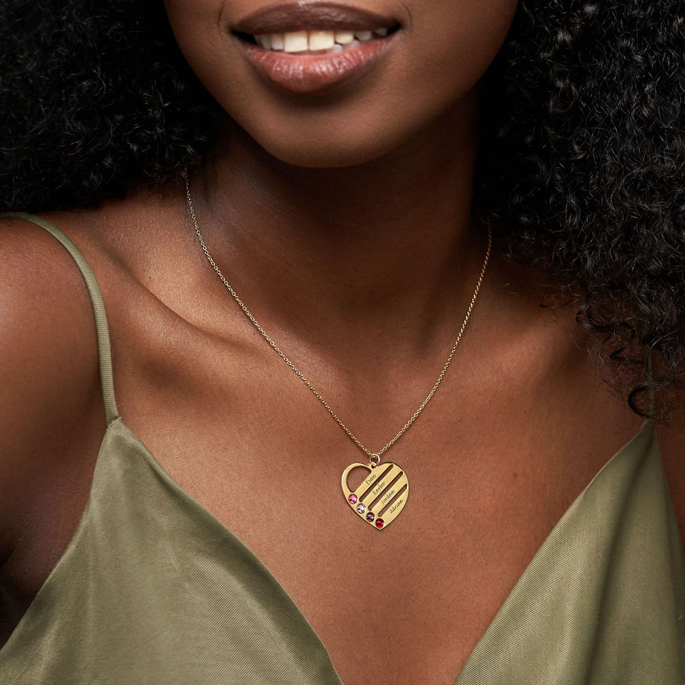 Birthstone Heart Necklace with Engraved Names - Gold Plated - 2