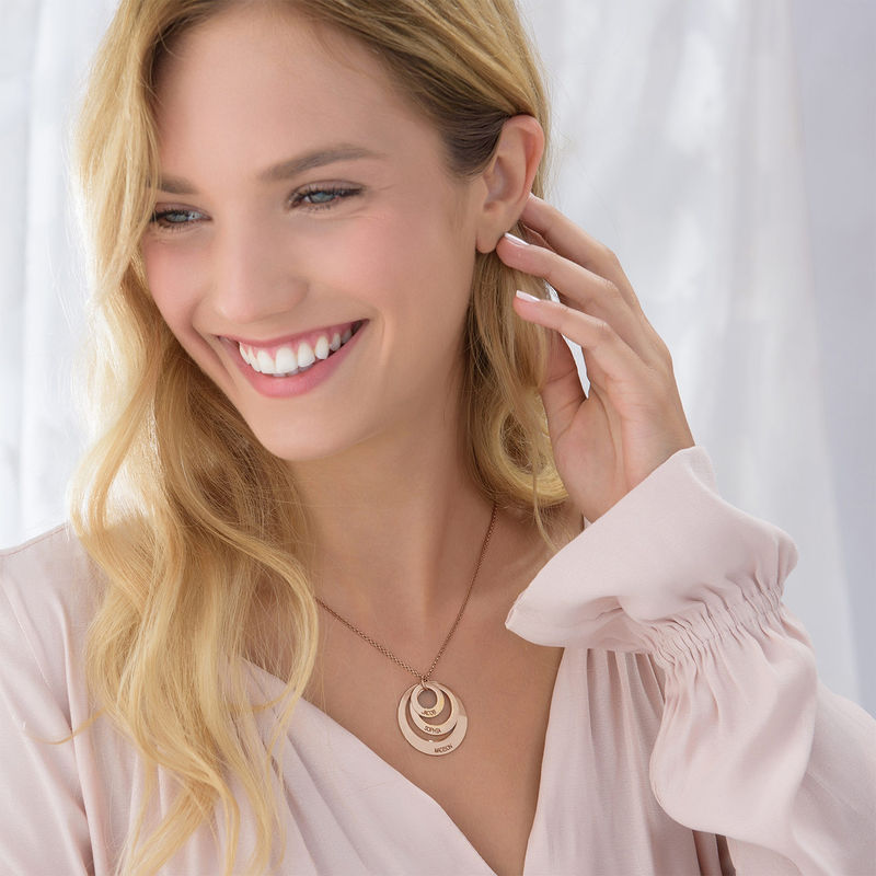 Jewellery for Mums - Three Disc Necklace with Rose Gold Plating - 4