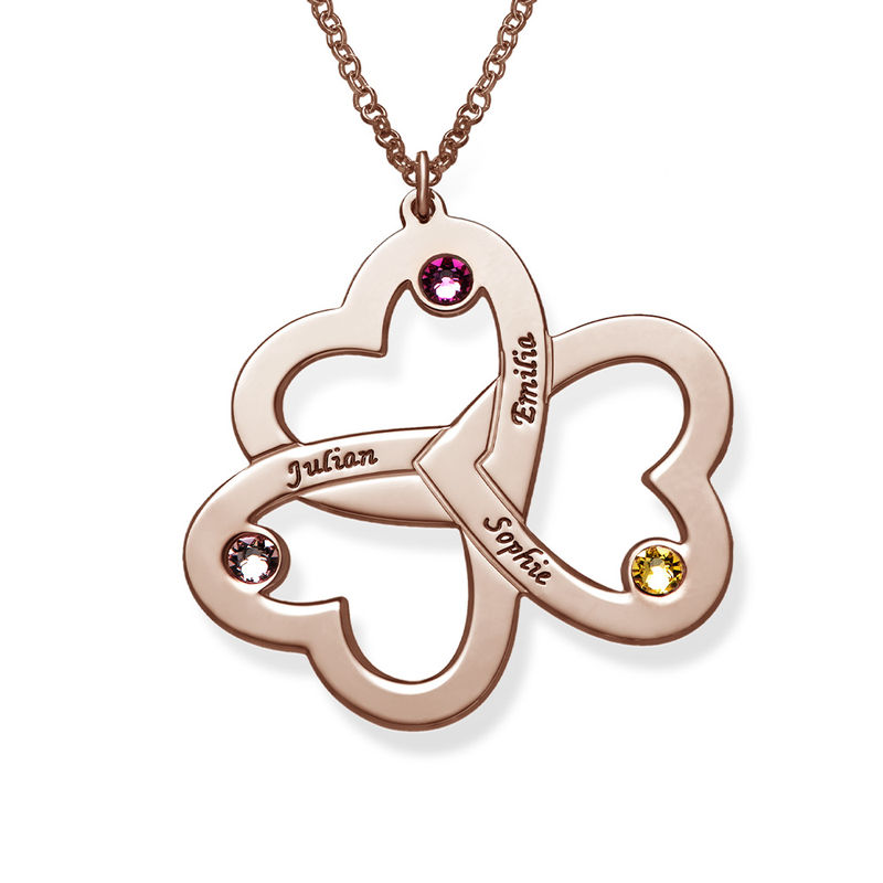 Personalised Triple Heart Necklace with Rose Gold Plating