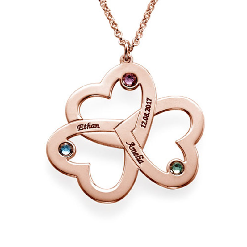 Personalised Triple Heart Necklace with Rose Gold Plating - 1