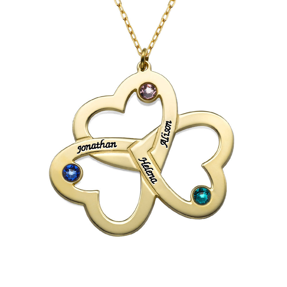 Personalised Triple Heart Necklace in 10ct Solid Gold