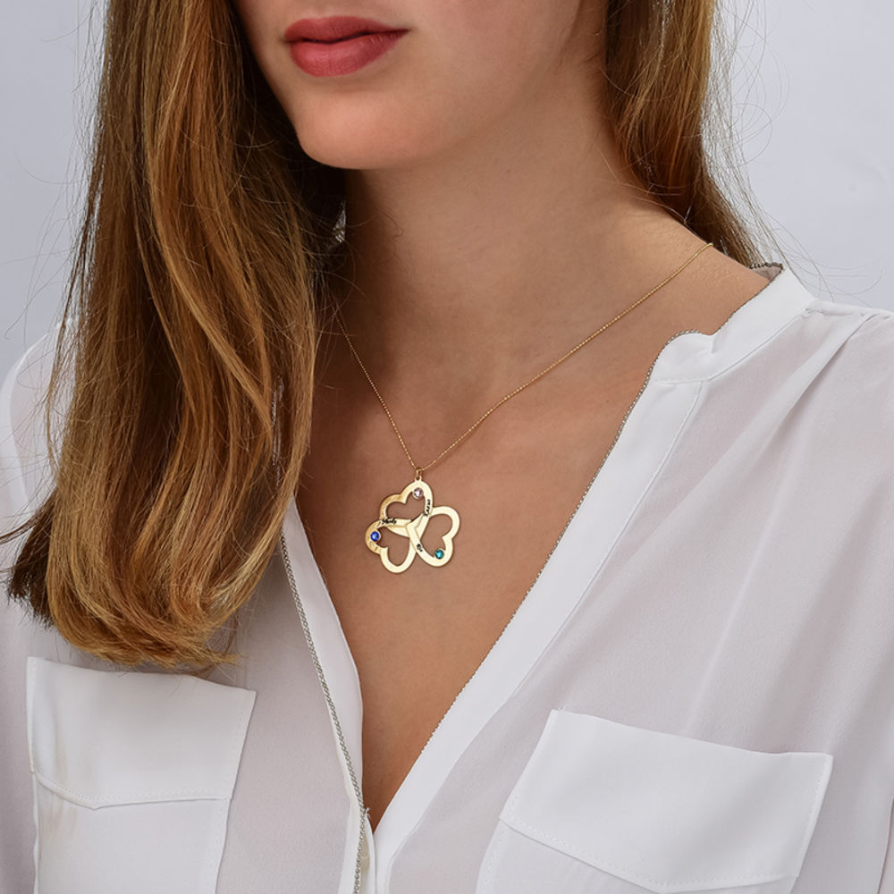 Personalised Triple Heart Necklace in 10ct Solid Gold - 1