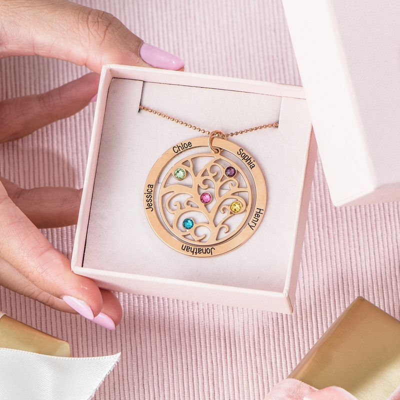 Family Tree Birthstone Necklace with Rose Gold Plating - 5