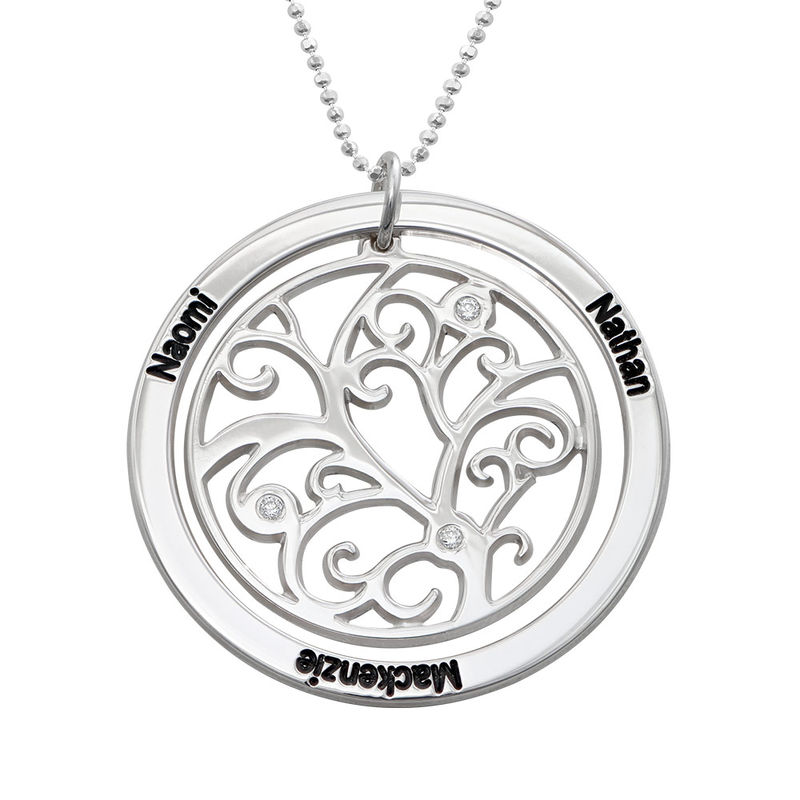 Family Tree Birthstone Necklace Sterling Silver with Diamonds