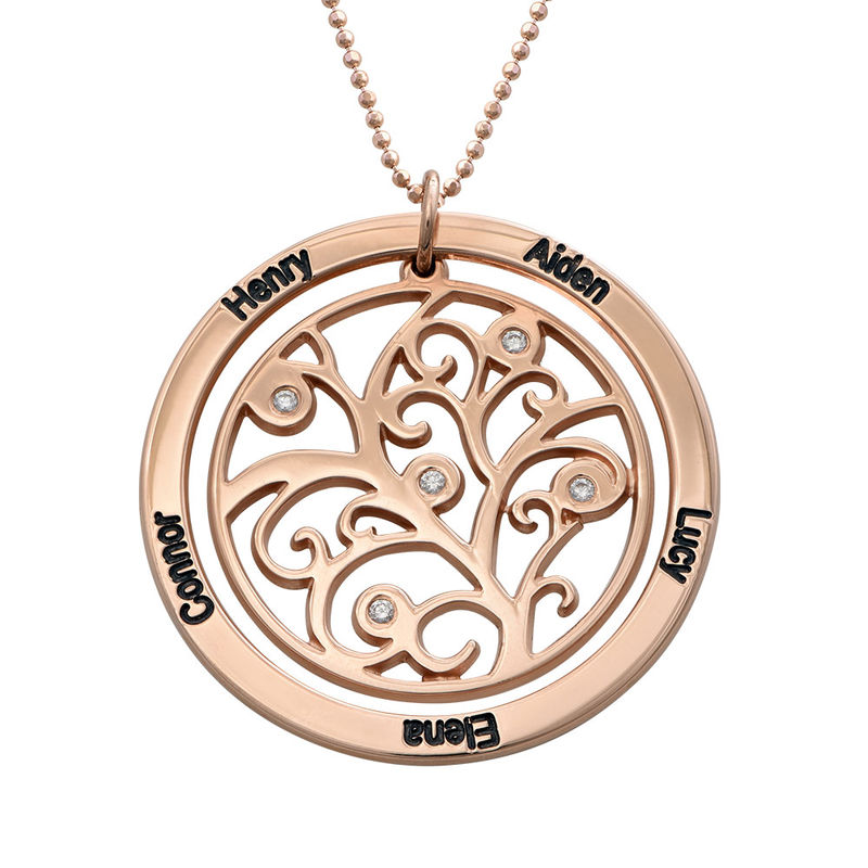 Family Tree Birthstone Necklace Rose Gold Plated  with Diamonds