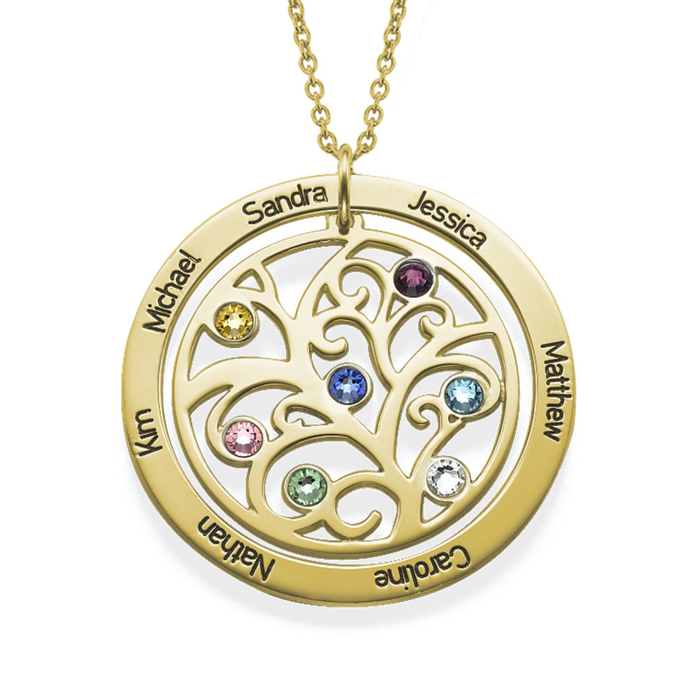 Family Tree Birthstone Necklace in 18ct Gold Vermeil