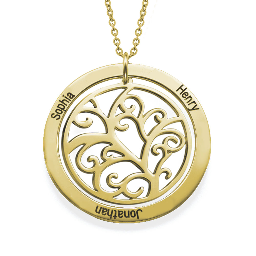Family Tree Birthstone Necklace in 18ct Gold Vermeil - 1