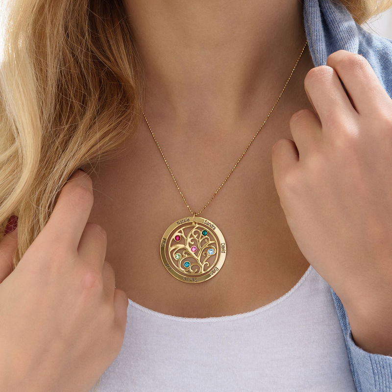 Family Tree Birthstone Necklace in 18ct Gold Vermeil - 3