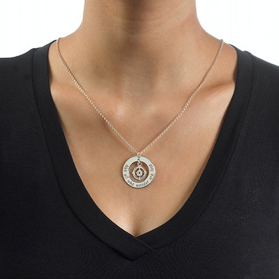 Compass Necklace with Engraved Disc - 1