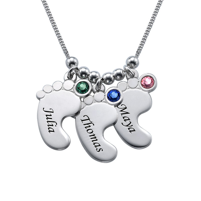Baby Feet Necklace with Birthstones in Sterling Silver