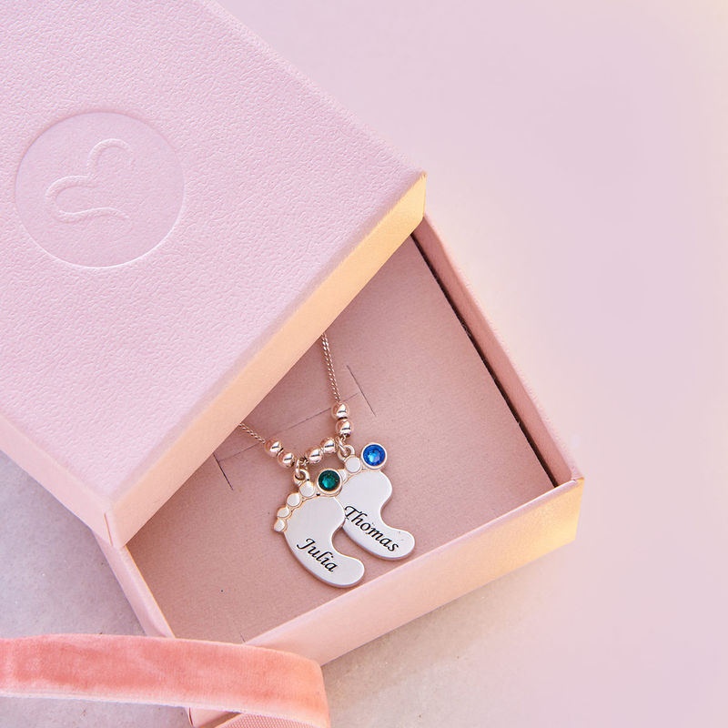 Baby Feet Necklace with Birthstones in Sterling Silver - 6