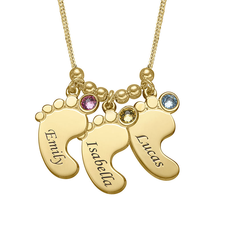 Baby Feet Necklace with Birthstones in Gold Plating