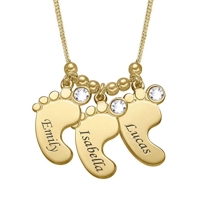 Baby Feet Necklace with Birthstones in Gold Plating - 1