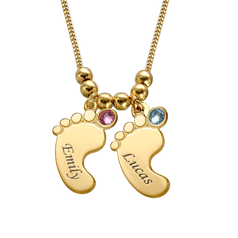 Baby Feet Necklace with Birthstones in Gold Plating - 2