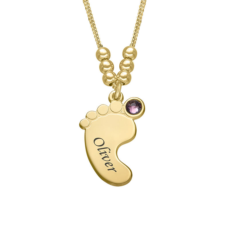 Baby Feet Necklace with Birthstones in Gold Plating - 3