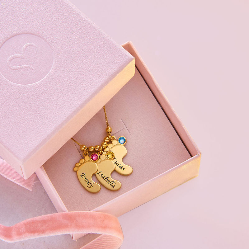 Baby Feet Necklace with Birthstones in Gold Plating - 6