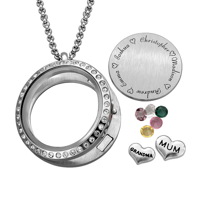 """Engraved Floating Charms Locket with Birthstones- """"For Mum or Grandma"""" - 1"""