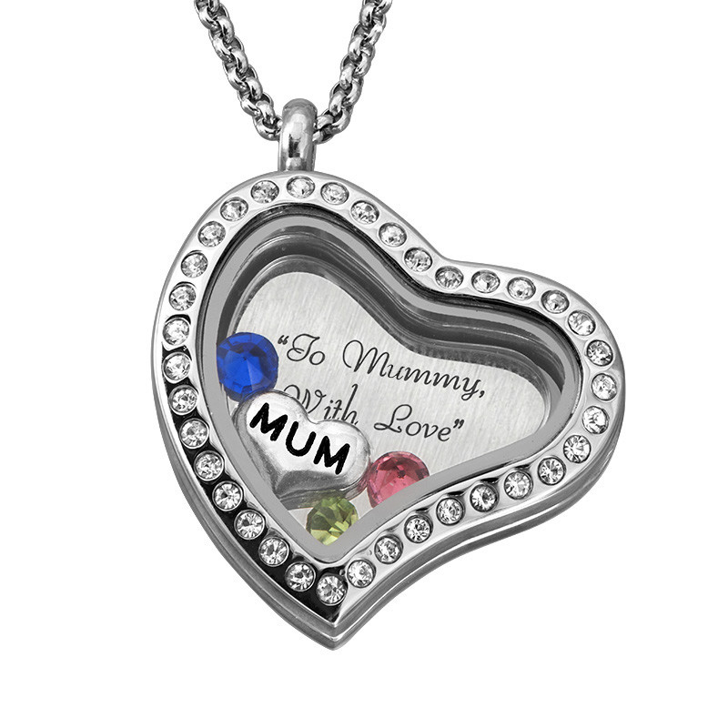"""Engraved Floating Charms Locket with Birthstones- """"For Mum or Grandma"""" - 2"""