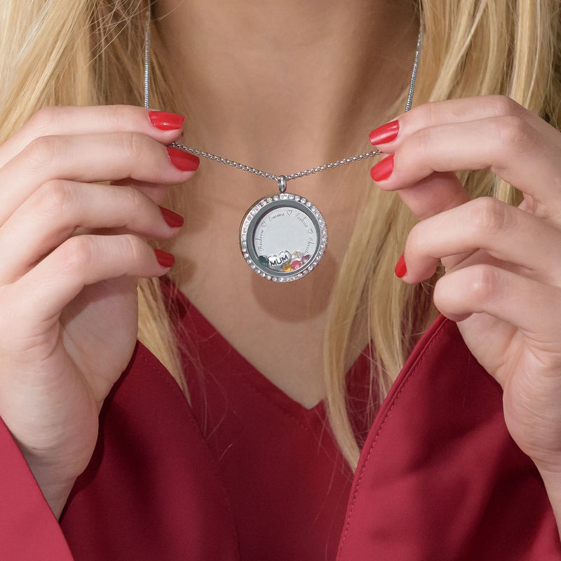 """Engraved Floating Charms Locket with Birthstones- """"For Mum or Grandma"""" - 5"""