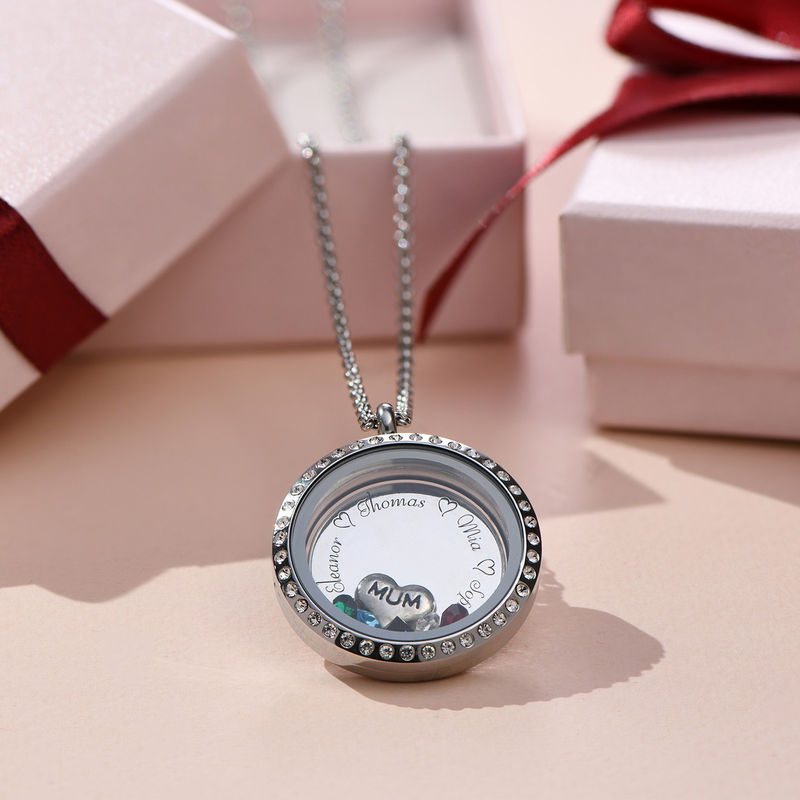 """Engraved Floating Charms Locket with Birthstones- """"For Mum or Grandma"""" - 6"""