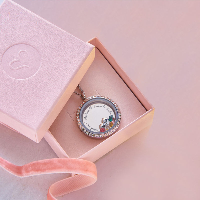 """Engraved Floating Charms Locket with Birthstones- """"For Mum or Grandma"""" - 8"""