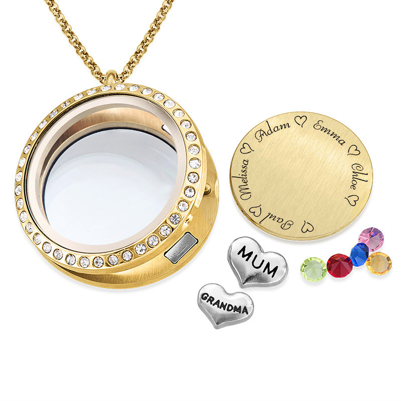 "Engraved Floating Charms Locket in Gold Plating - ""For Mum or Grandma"" - 1"