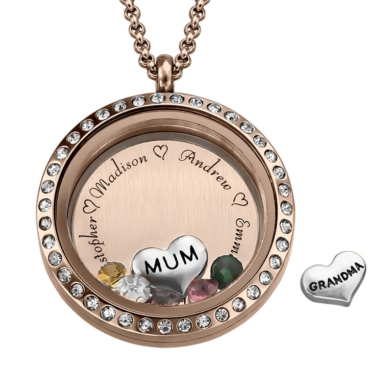 """Engraved Floating Charms Locket in Rose Gold Plating - """"For Mum or Grandma"""""""