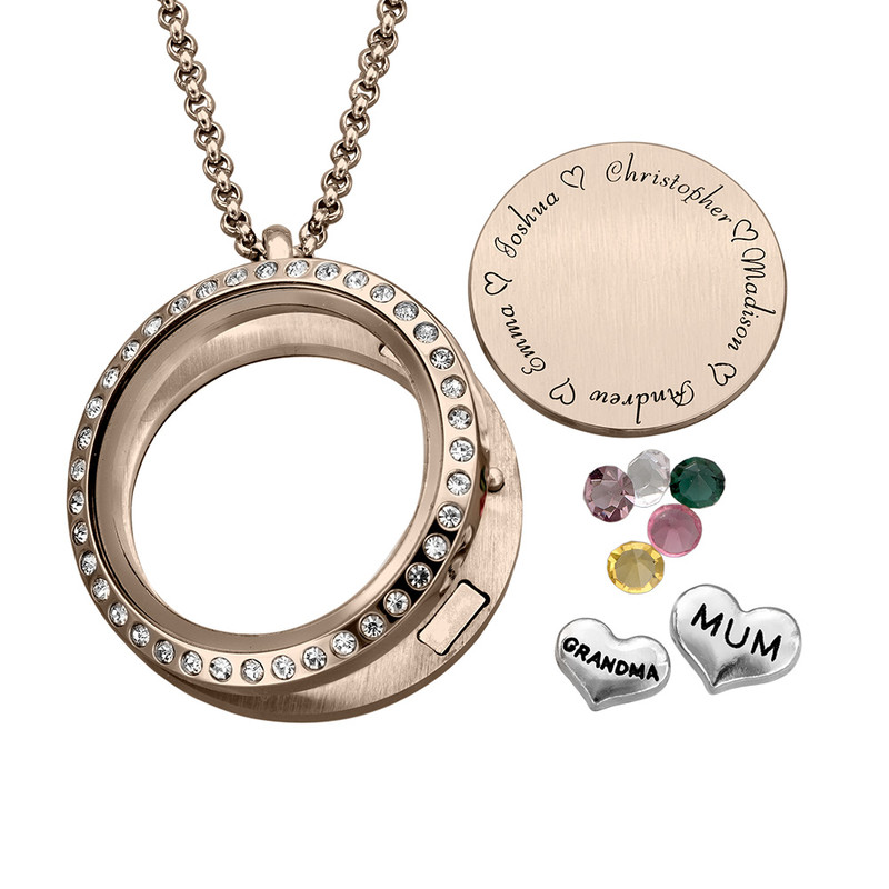 """Engraved Floating Charms Locket in Rose Gold Plating - """"For Mum or Grandma"""" - 1"""