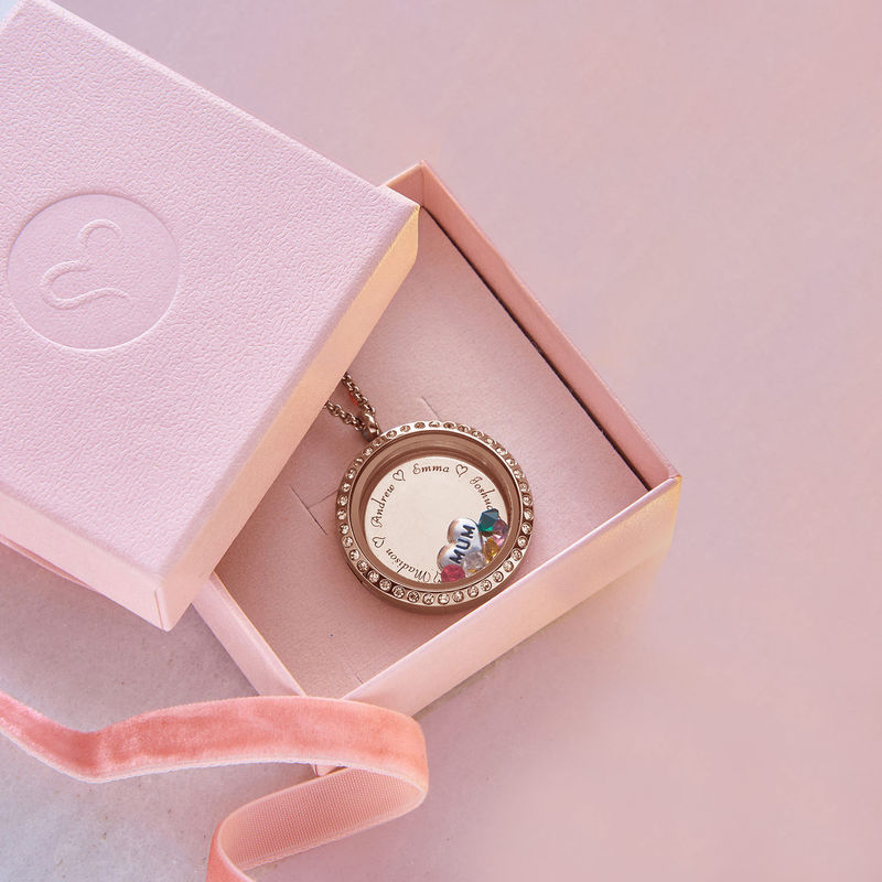 """Engraved Floating Charms Locket in Rose Gold Plating - """"For Mum or Grandma"""" - 5"""