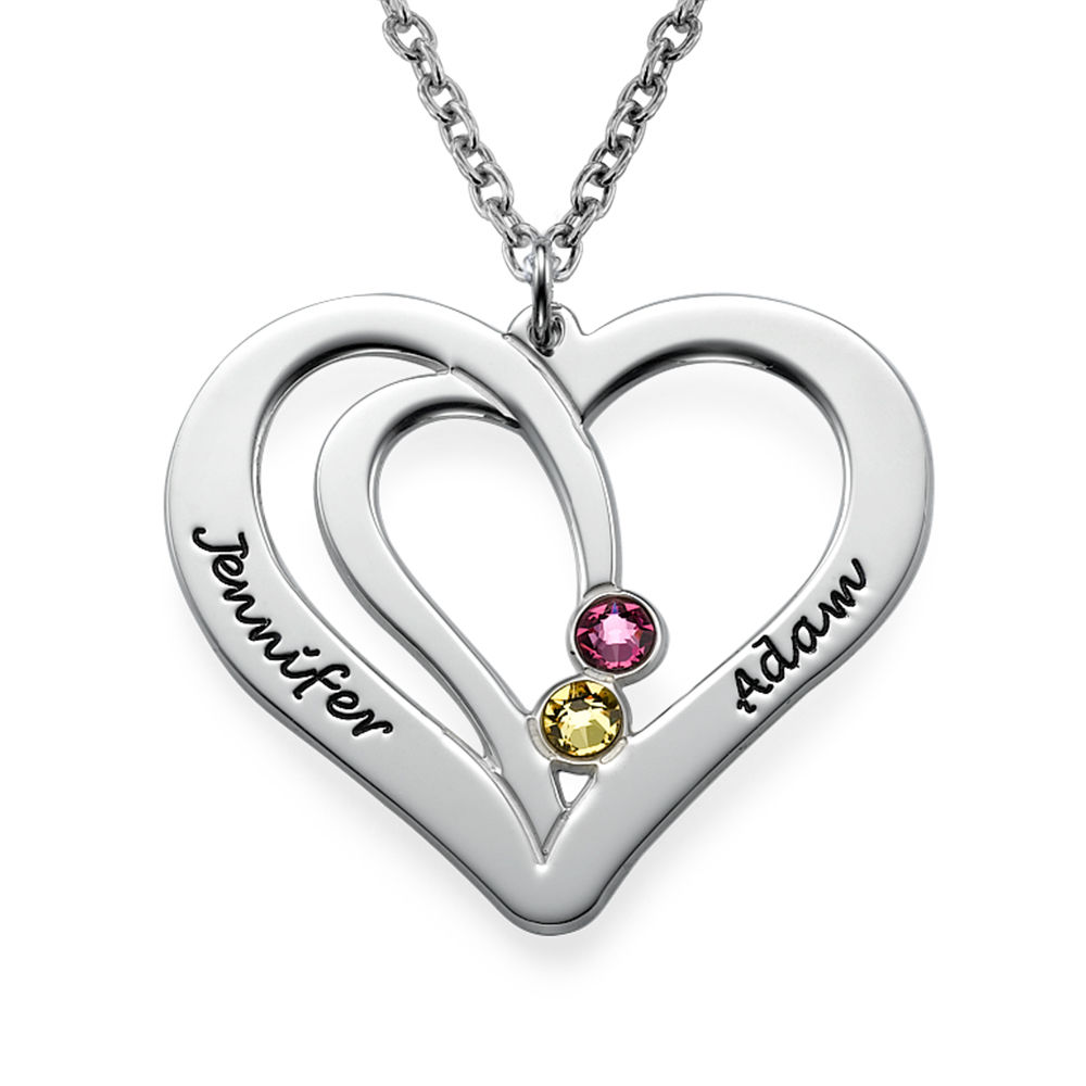 Engraved Birthstone Necklace in Silver