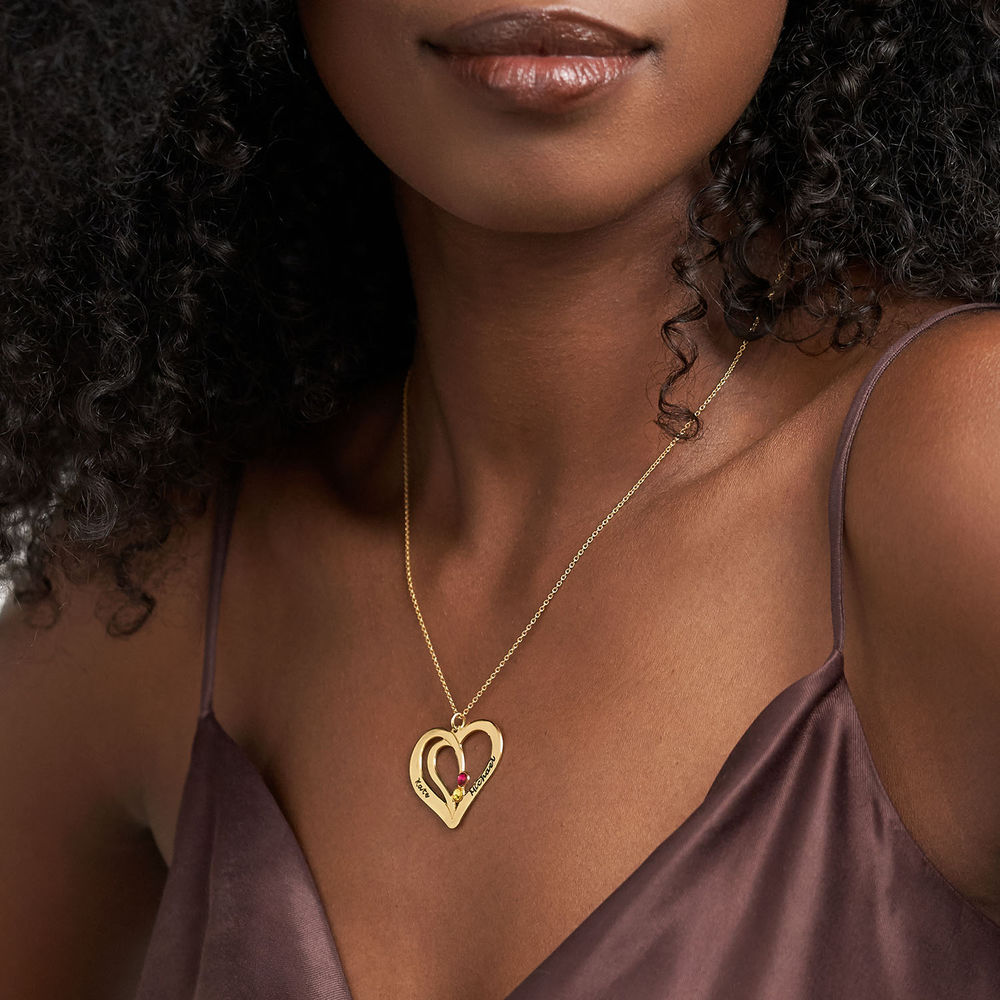 Engraved Birthstone Necklace in Gold Plating - 2