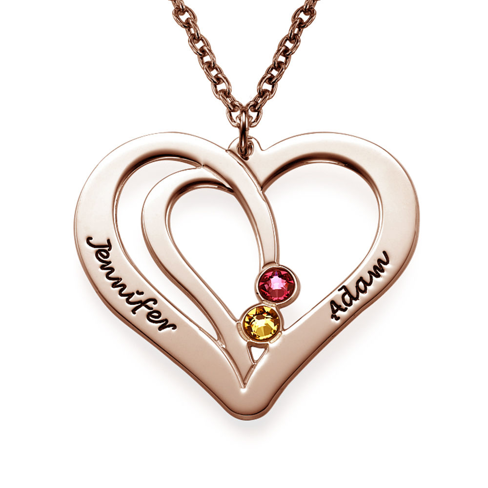 Engraved Birthstone Necklace - Rose Gold Plated