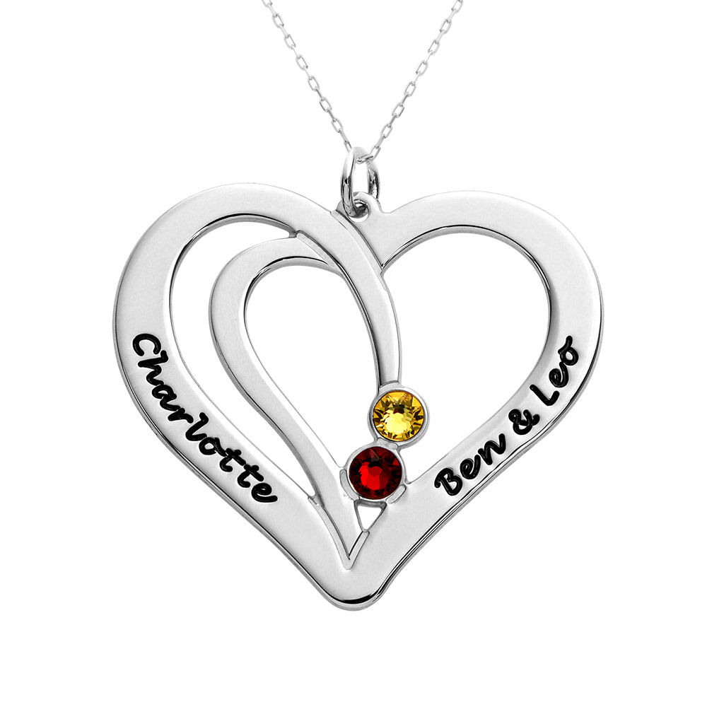 Engraved Couples Birthstone Necklace in 10ct White Gold