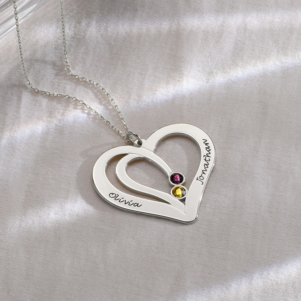 Engraved Couples Birthstone Necklace in 10ct White Gold - 1