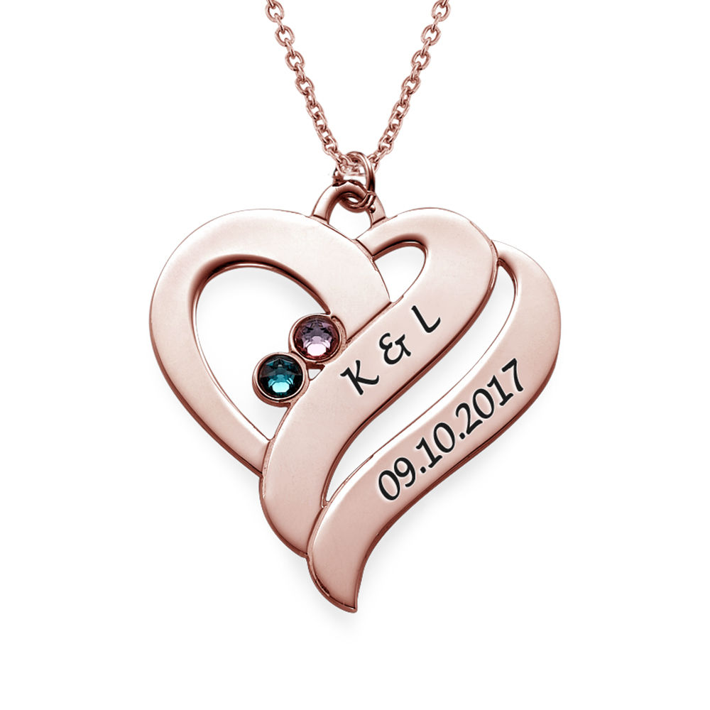 Two Hearts Forever One Necklace with Birthstones - Rose Gold Plated - 1