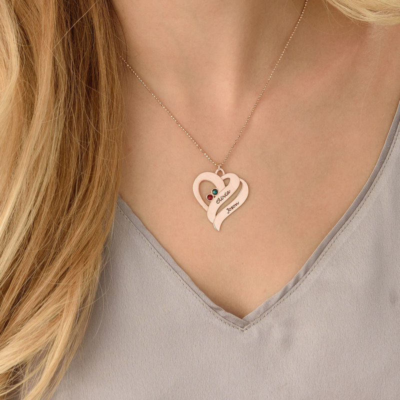 Two Hearts Forever One Necklace with Birthstones - Rose Gold Plated - 3
