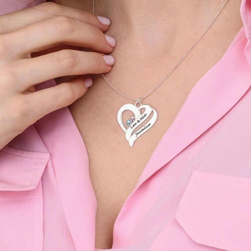 Two Hearts Forever One Necklace - 10ct White Gold - 4