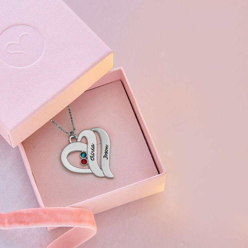 Two Hearts Forever One Necklace - 10ct White Gold - 5