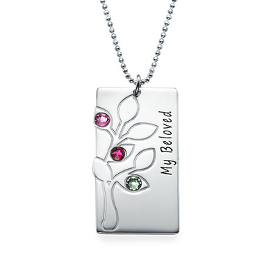 Personalised Family Tree Necklace with Birthstones - 1