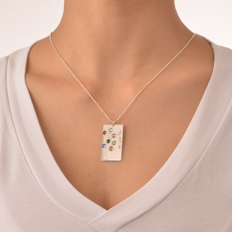 Personalised Family Tree Necklace with Birthstones - 2