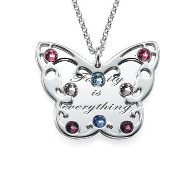 Engraved Butterfly Necklace for Mums with Birthstones