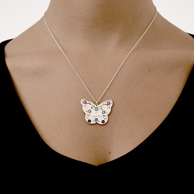 Engraved Butterfly Necklace for Mums with Birthstones - 3