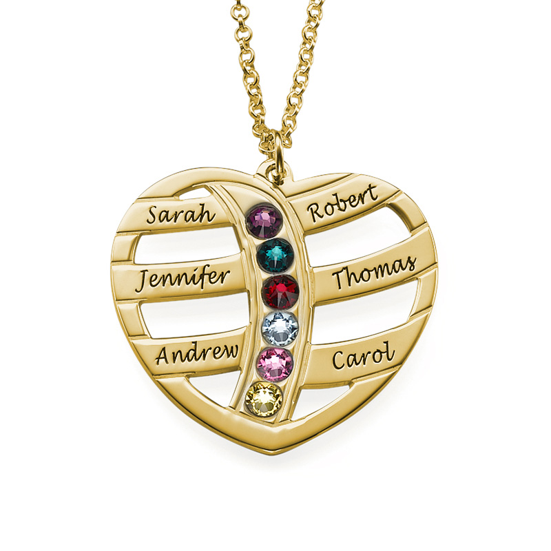 Gift for Mum - Engraved Gold Heart Necklace with Birthstones