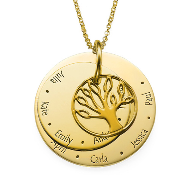 Family Tree Necklace for Mums - 18ct Gold Plated - 1