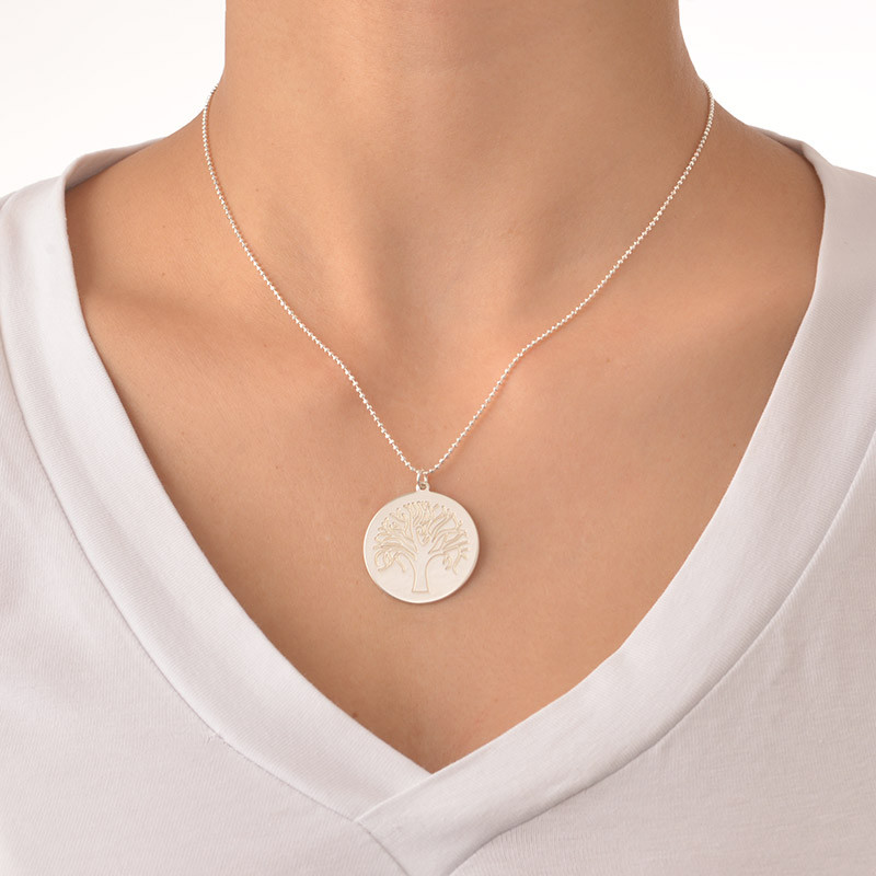 Engraved Tree Necklace in Sterling Silver - 2