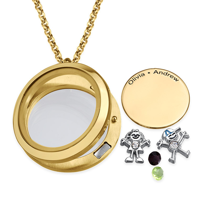 Floating Locket for Mum with Children Charms - Gold Plated - 1