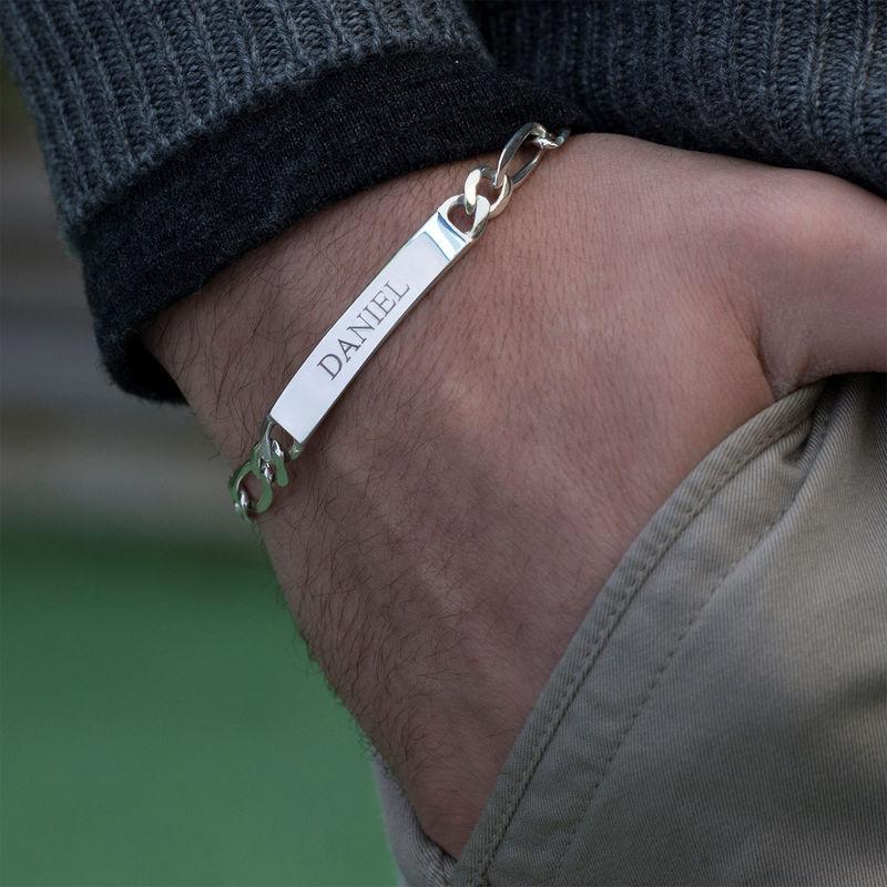 Heavy Sterling Silver Men's ID Name Bracelet - 1