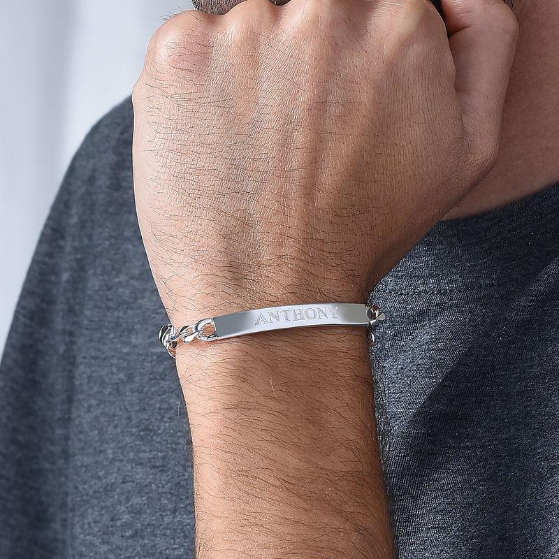 Heavy Sterling Silver Men's ID Name Bracelet - 4