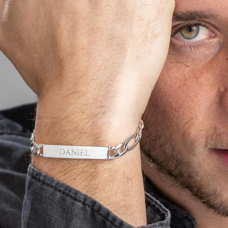 Heavy Sterling Silver Men's ID Name Bracelet - 5